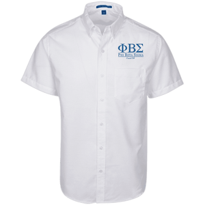 Phi Beta Sigma Short Sleeve Oxford Shirt - Unique Greek Store