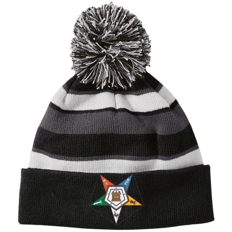 Image of Order Of The Eastern Star Striped Beanie with Pom - Unique Greek Store