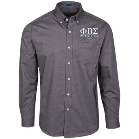 Phi Beta Sigma Long Sleeve Oxford Shirt - Unique Greek Store