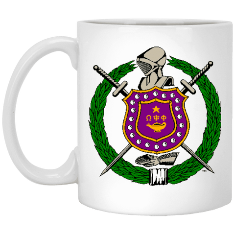Omega Psi Phi 11 oz. White Mug - Unique Greek Store