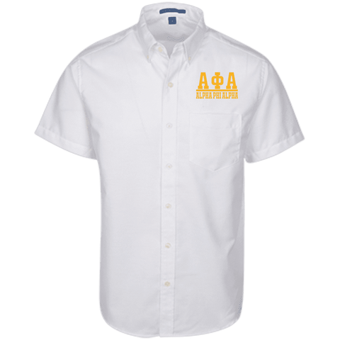 Image of Alpha Phi Alpha Short Sleeve Oxford Shirt - Unique Greek Store