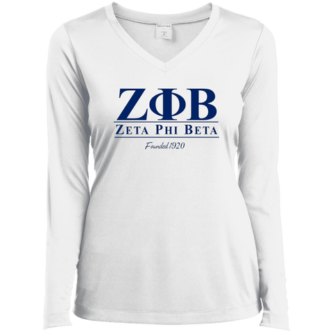 Zeta Phi Beta Ladies Long Sleeve Performance Vneck Tee - Unique Greek Store