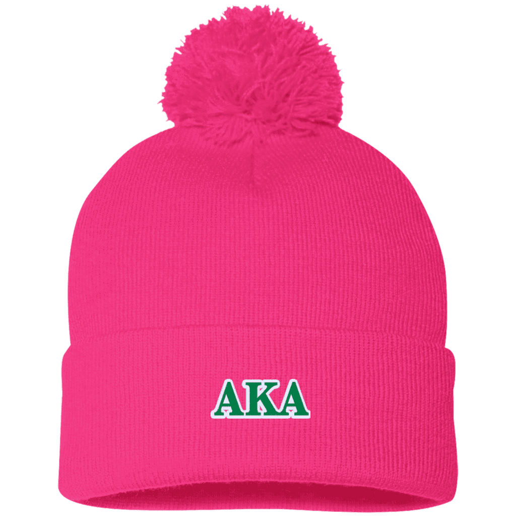 Alpha Kappa Alpha Pom Pom Knit Cap - Unique Greek Store