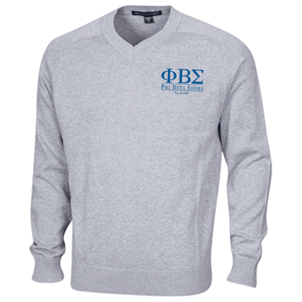 Phi Beta Sigma Embroidered V-Neck Sweater - Unique Greek Store