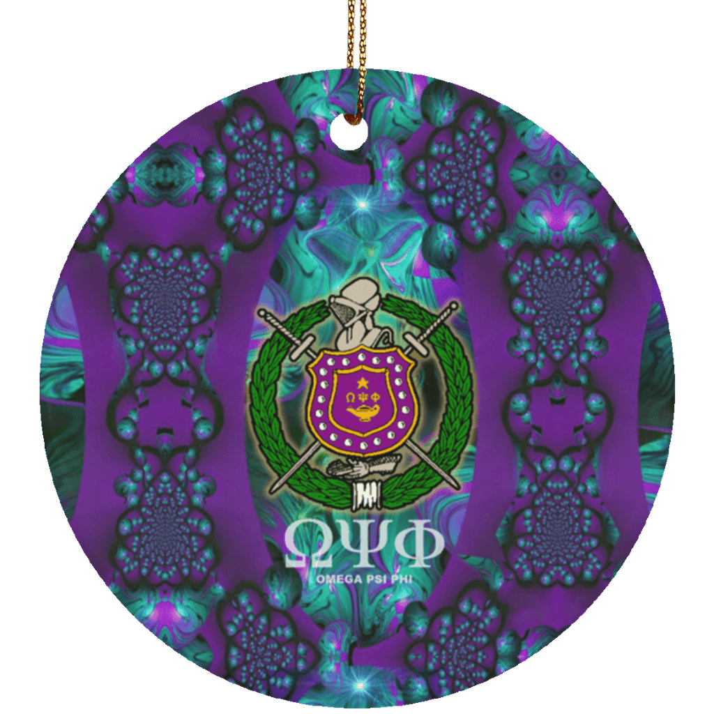 Omega Psi Phi Circle Ornament - Unique Greek Store
