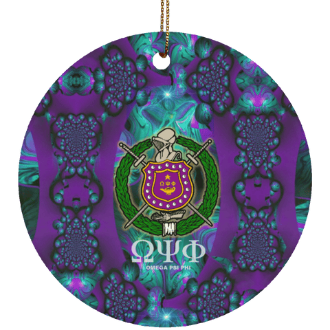 Image of Omega Psi Phi Circle Ornament - Unique Greek Store