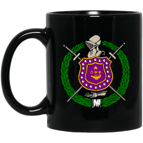 Omega Psi Phi 11 oz. Black Mug - Unique Greek Store