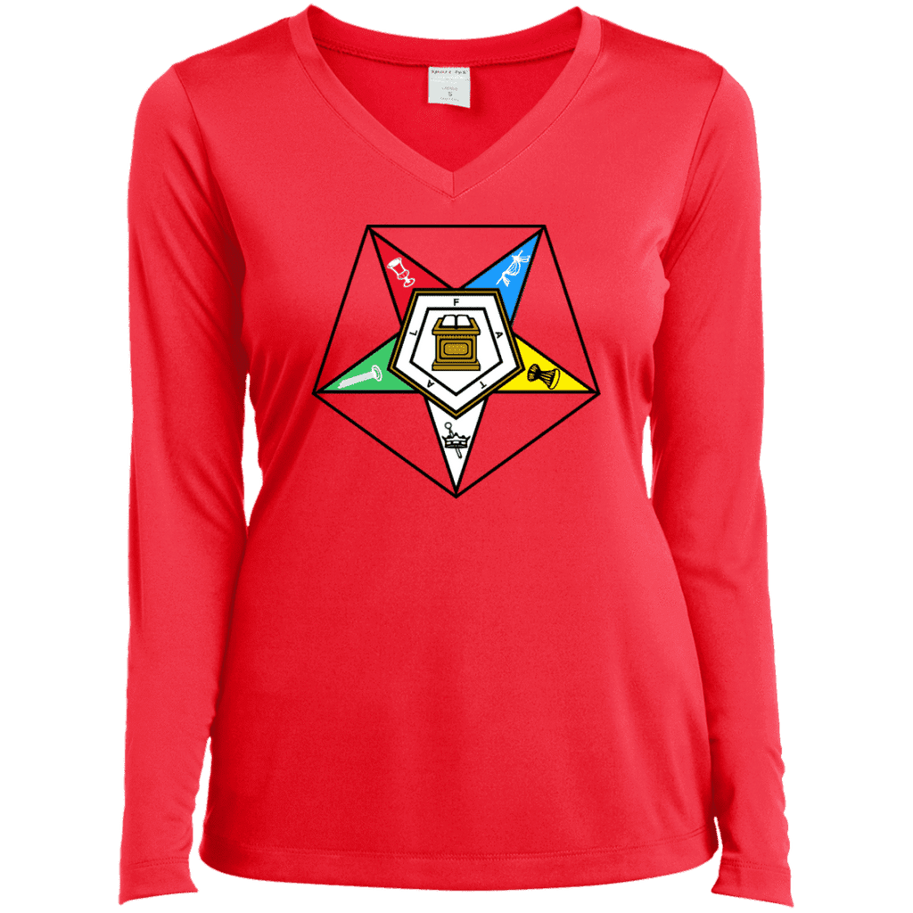 Order Of The Eastern Star Long Sleeve Performance Vneck Tee - Unique Greek Store