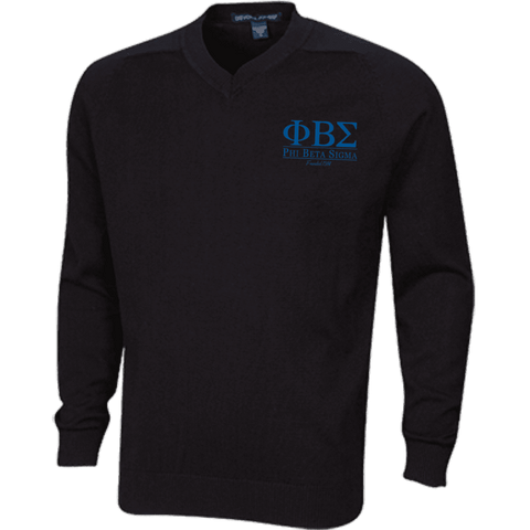 Image of Phi Beta Sigma Embroidered V-Neck Sweater - Unique Greek Store