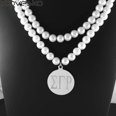 Image of Sigma Gamma Rho Double Strand Pearl Necklace