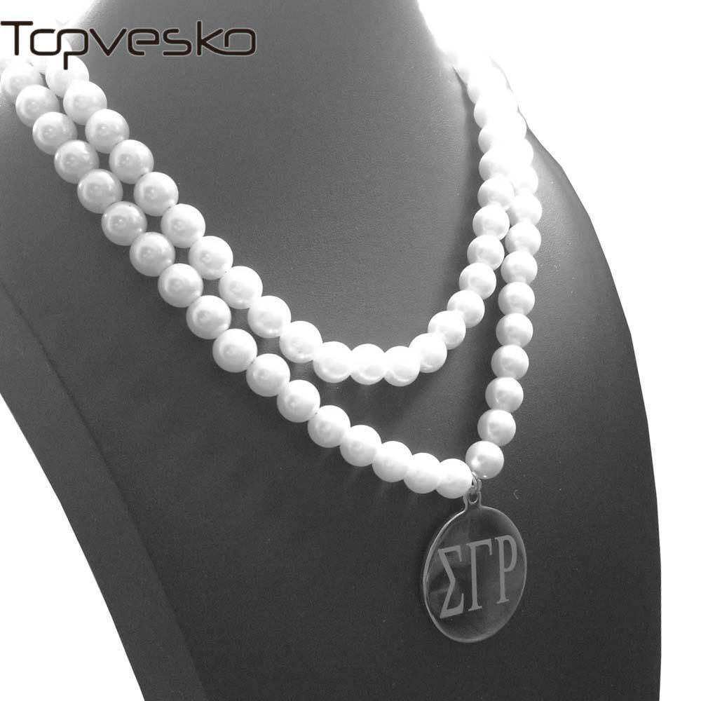 Sigma Gamma Rho Double Strand Pearl Necklace - Unique Greek Store