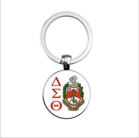 Delta Sigma Theta Round Pendant Keyrings - Unique Greek Store