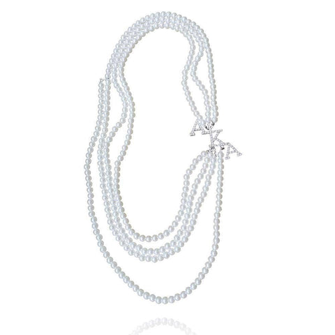 Alpha Kappa Alpha Pearl AKA Design Necklace - Unique Greek Store
