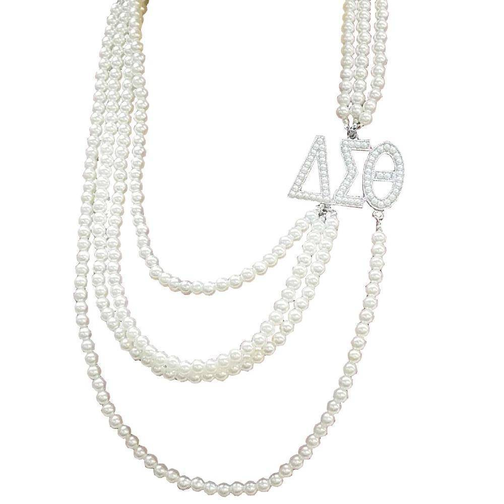 Delta Sigma Theta Multilayer Long Pearl Necklace - Unique Greek Store