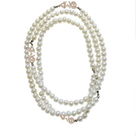Delta Sigma Theta Multilayer Chain Pearl Necklace