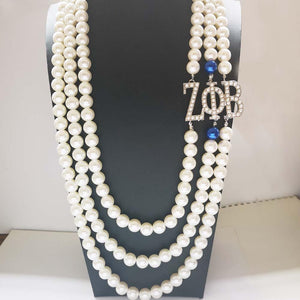 Zeta Phi Beta Crystal Pearl Necklace