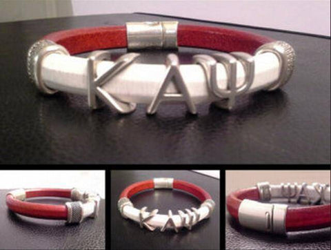 Image of Kappa Alpha Psi Leather Cuff - Unique Greek Store