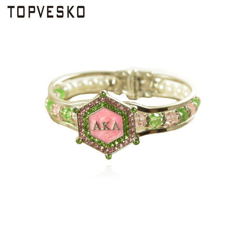 Alpha Kappa Alpha Pink and Green Stones Bangle - Unique Greek Store
