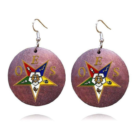 Order of the Eastern Star African Wooden Emblem Earrings