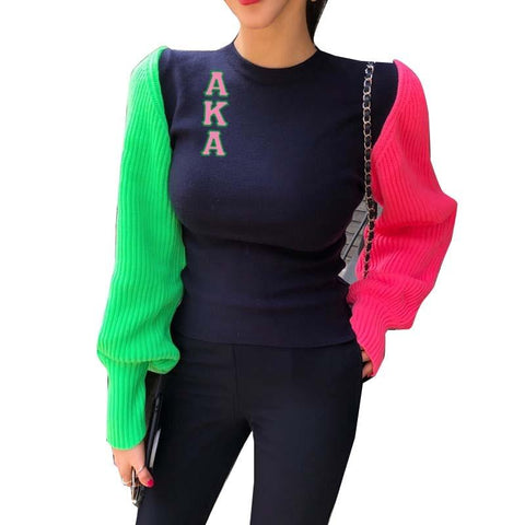 Alpha Kappa Alpha Puff Sleeve Sweater