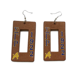 Sigma Gamma Rho 1922 Poodles Wooden Earrings