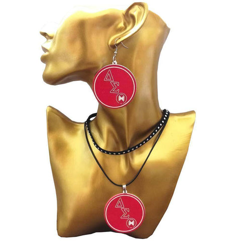 Image of Delta Sigma Theta Wood Jewelry Set Earring - Unique Greek Store