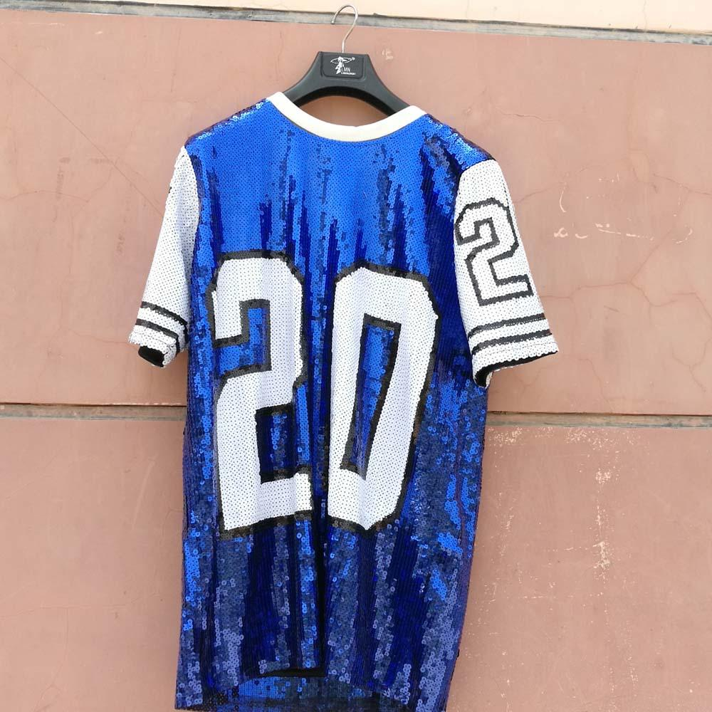 Zeta Phi Beta Blue and White Designs Sequin T-Shirt