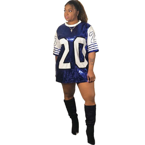 Image of Zeta Phi Beta Blue and White Designs Sequin T-Shirt