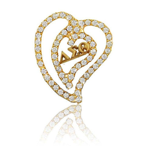 Image of Delta Sigma Theta Crystal Heart Brooch