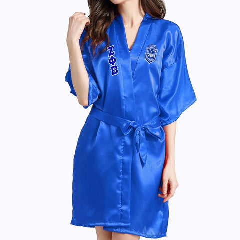 Zeta Phi Beta Lace Satin Bathrobe