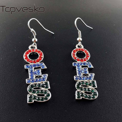 Image of Order of the Eastern Star Red Royal Green Rhinestone Earrings