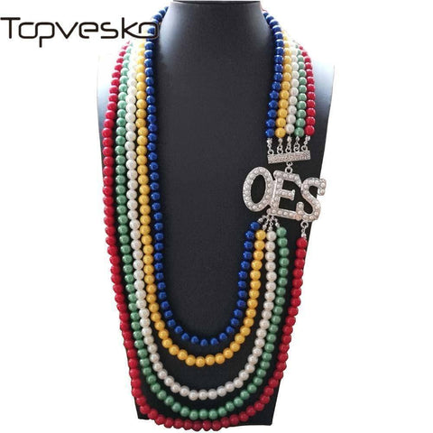 Image of Order of the Eastern Star MultiLayer Statement Jewelry Necklace