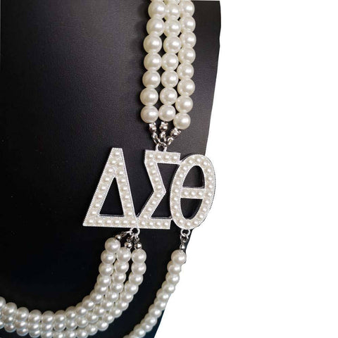 Image of Delta Sigma Theta Multilayer Pearl Necklace - Unique Greek Store