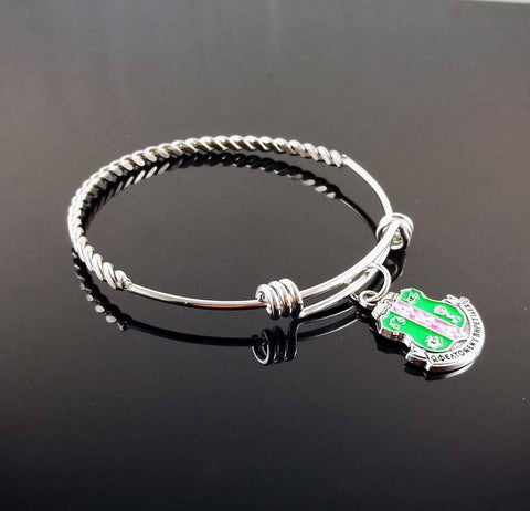 Alpha Kappa Alpha Twited Stainless Steel Bangle