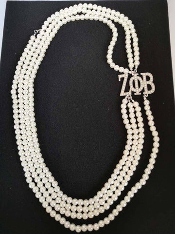 Zeta Phi Beta Multilayer Pearl Necklace - Unique Greek Store