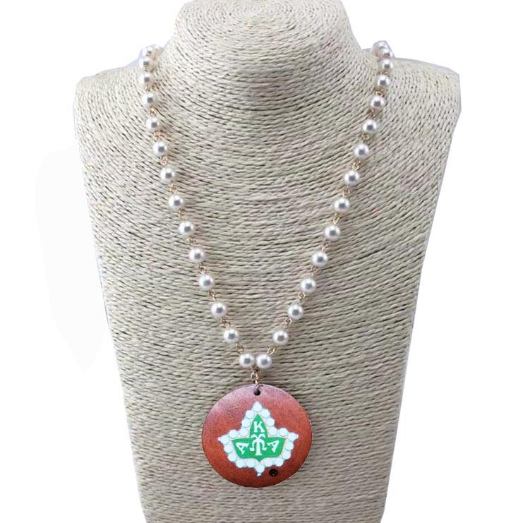 Alpha Kappa Alpha Wooden Disc Pearl Necklace