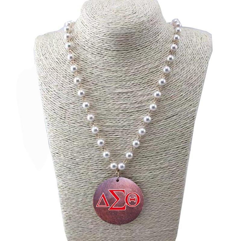 Delta Sigma Theta Wooden Disc Pearl Necklace