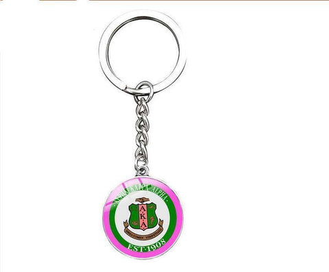 Alpha Kappa Alpha Silver Keyrings - Unique Greek Store