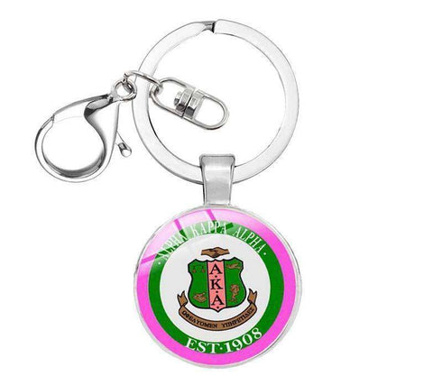 Image of Alpha Kappa Alpha Silver Keyrings - Unique Greek Store