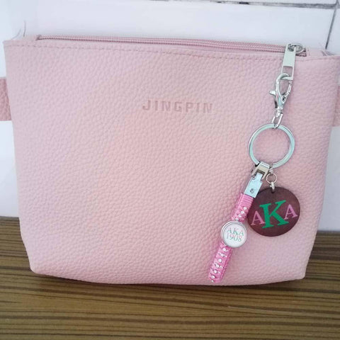 Alpha Kappa Alpha Key Chain Holder with Wooden Jewelry - Unique Greek Store