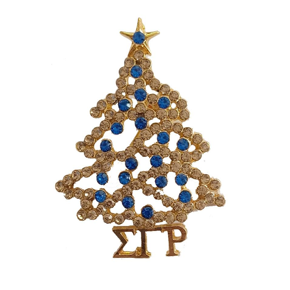 Sigma Gamma Rho Christmas Tree Pearl Brooch