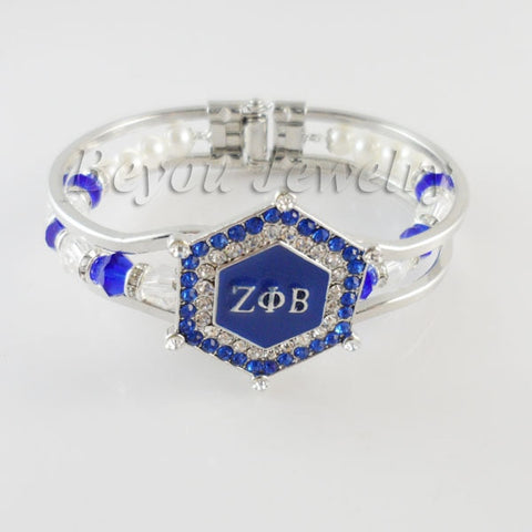 Image of Zeta Phi Beta Charm Bead Cuff Bangle