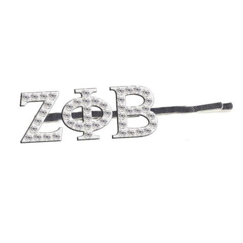 Zeta Phi Beta Glittered Rhinestone Hairpin