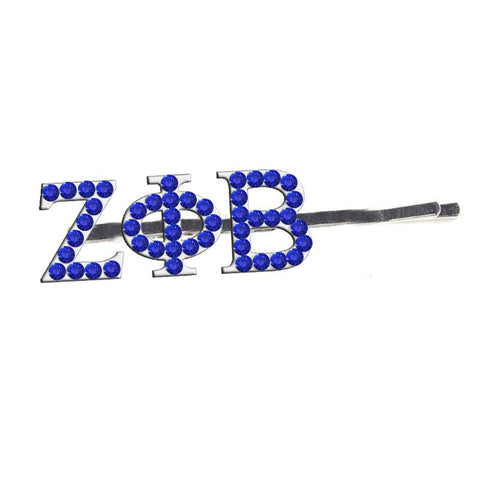 Image of Zeta Phi Beta Glittered Rhinestone Hairpin
