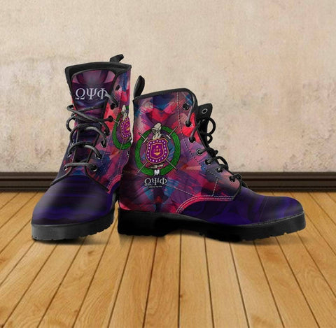 Image of Men's Omega Psi Phi Leather Boots - Unique Greek Store