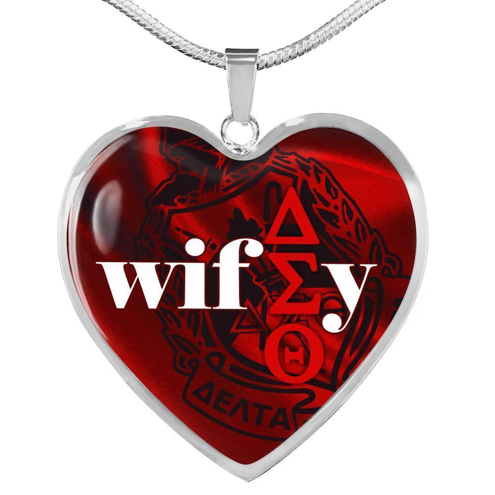Delta Sigma Theta Emblem Heart  Necklace