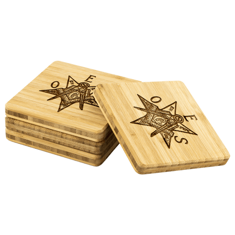 Image of Order of the Eastern Star Bamboo Coaster