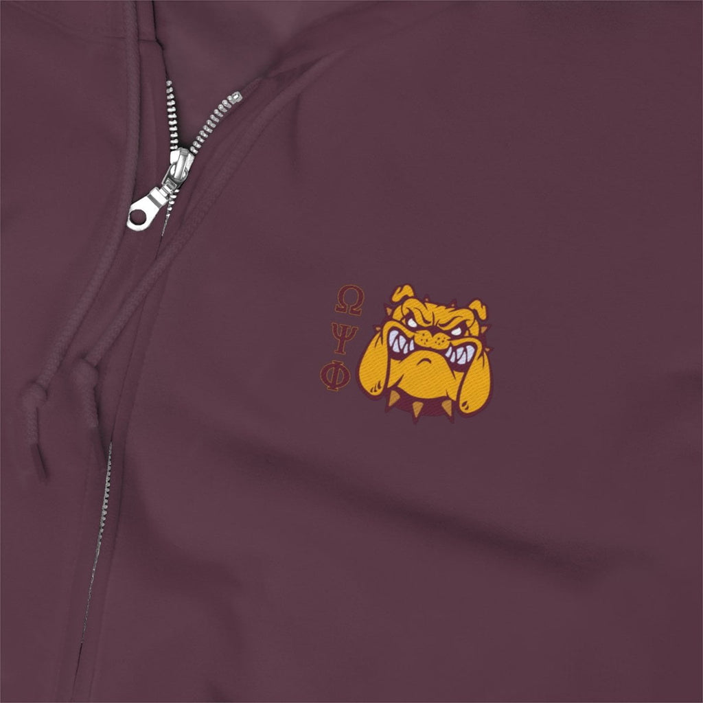 Omega Psi Phi Embroidery Zip Up Hoodie