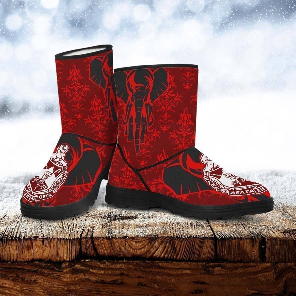 Delta Sigma Theta Faux Fur Boots - Unique Greek Store