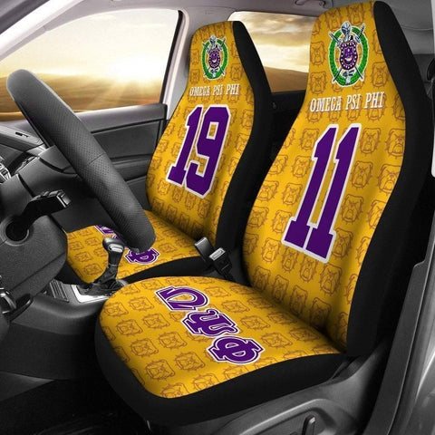 Image of Omega Psi Phi Founding Year and Initials Carseat Covers - Unique Greek Store